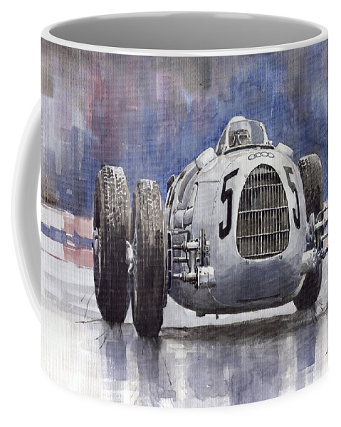 Auto Coffee Mug featuring the painting Auto-union Type C 1936 by Yuriy Shevchuk