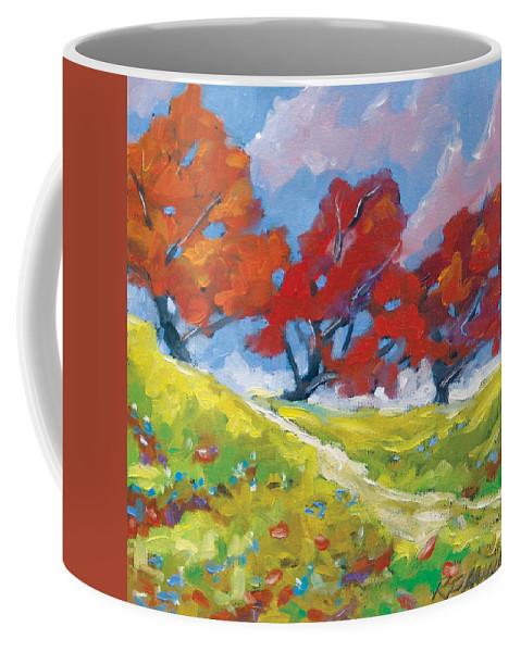 Art Coffee Mug featuring the painting Automn Trees by Richard T Pranke