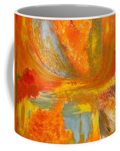 Abstract Coffee Mug featuring the painting Autumn - Indian Summer by Rae Chichilnitsky