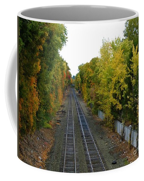 Leaves Coffee Mug featuring the photograph Autumn Along The Tracks by Gina Sullivan