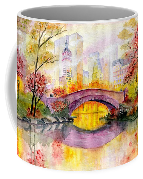 Autumn At Gapstow Bridge Central Park Coffee Mug featuring the painting Autumn at Gapstow Bridge Central Park by Melly Terpening