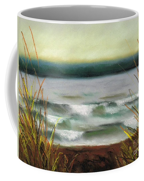 Lake Coffee Mug featuring the painting Autumn At The Lake by Frances Marino