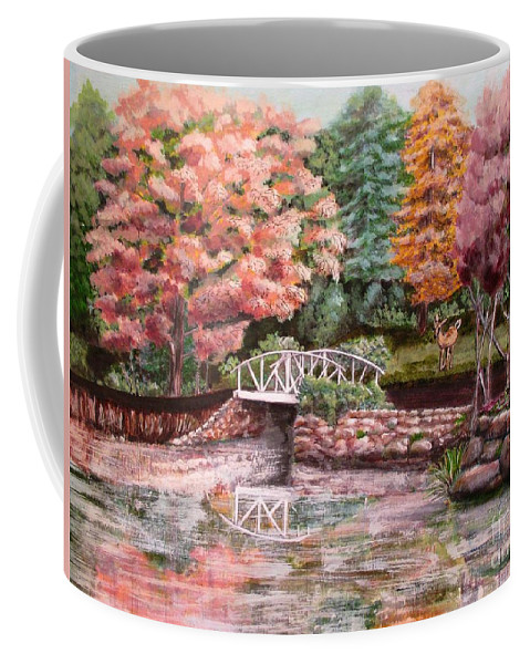 Autumn Coffee Mug featuring the painting Autumn At The Lake by Olga Silverman