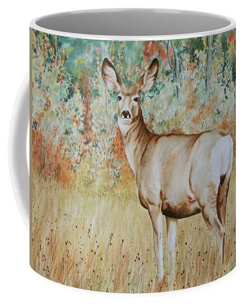 Wildlife Coffee Mug featuring the painting Autumn Beauty- Mule Deer Doe by Elaine Booth-Kallweit