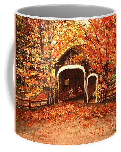 Autumn Coffee Mug featuring the painting Autumn Bike Ride by Patricia L Davidson