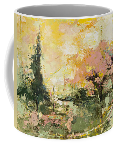 Abstract Art Coffee Mug featuring the painting Autumn Blast by Angela Torrez