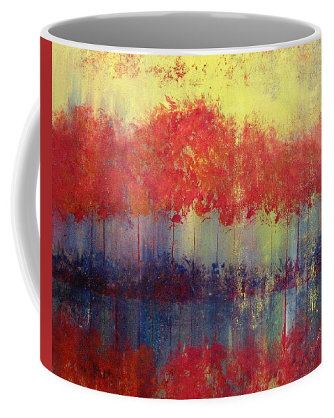 Abstract Coffee Mug featuring the painting Autumn Bleed by Ruth Palmer