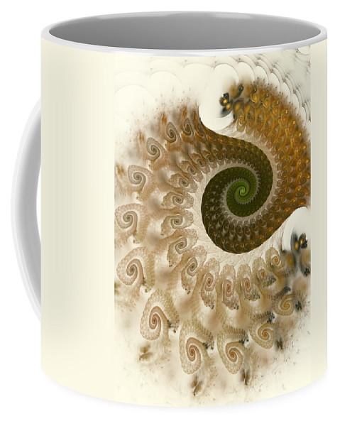Fractal Coffee Mug featuring the digital art Autumn Breeze by Amorina Ashton