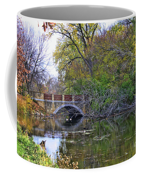 Bridge Coffee Mug featuring the photograph Autumn Bridge by Tommy Anderson