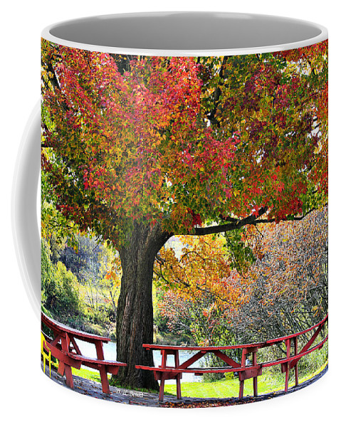 Fall Coffee Mug featuring the photograph Autumn By The River On 105 by Deborah Benoit