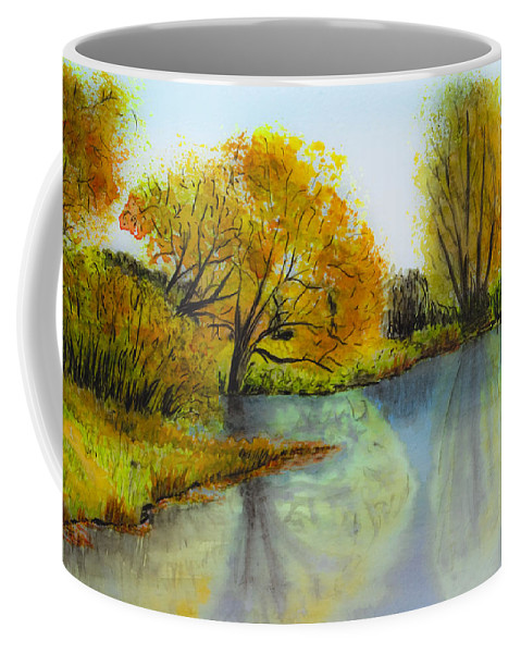 Abstract Coffee Mug featuring the painting Autumn Colours by Svetlana Sewell