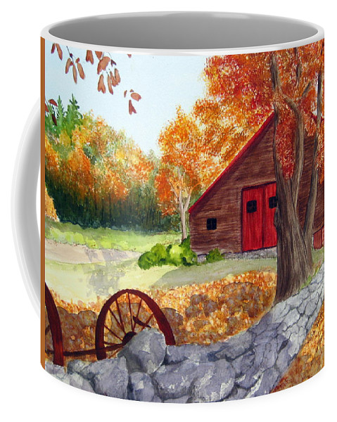 Barn Coffee Mug featuring the painting Autumn Day by Julia Rietz