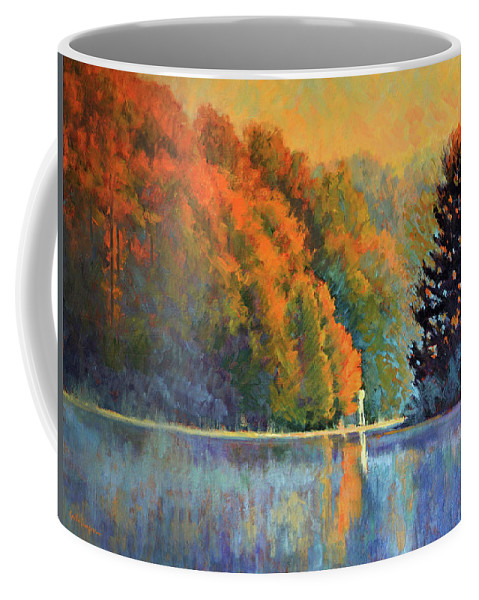Impressionism Coffee Mug featuring the painting Autumn Day Rising by Keith Burgess