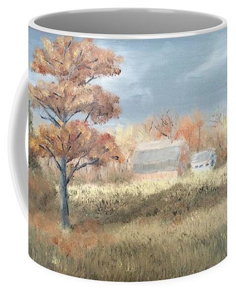 Landscape Coffee Mug featuring the painting Autumn Farm by J O Huppler