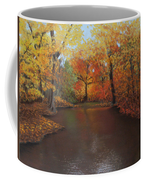 Landscape Coffee Mug featuring the painting Autumn Fire by Susan Jenkins