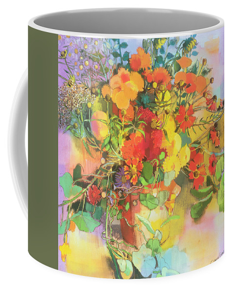 Flower Coffee Mug featuring the painting Autumn Flowers by Claire Spencer