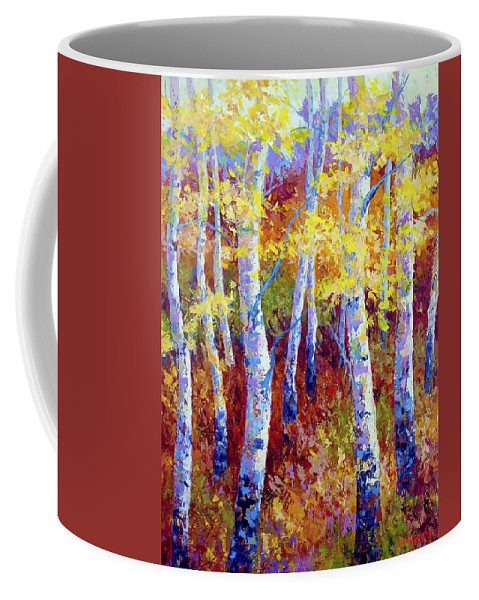 Birch Coffee Mug featuring the painting Autumn Gold by Marion Rose