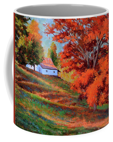Impressionism Coffee Mug featuring the painting Autumn Hillside by Keith Burgess