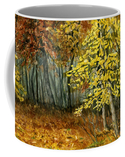 Landscape Coffee Mug featuring the painting Autumn Hollow I by Mary Tuomi
