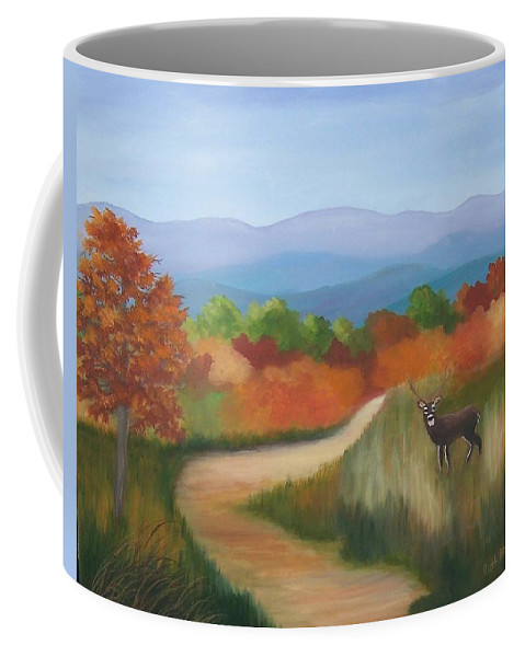 Mountains Coffee Mug featuring the painting Autumn In Blue Ridge Mountains Virginia by Ruth Housley