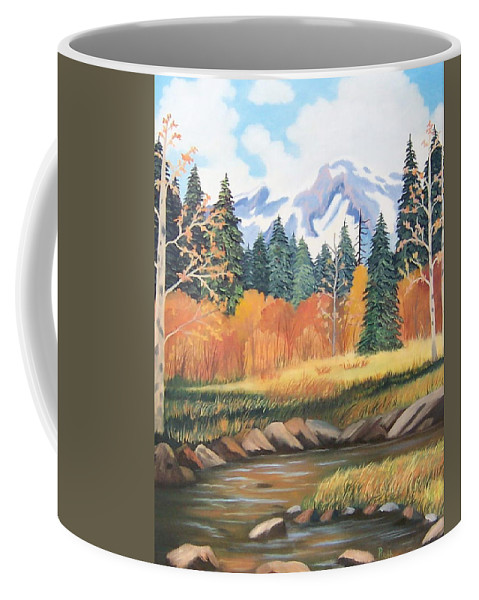Landscape Coffee Mug featuring the painting Autumn In The Mountans by Ruth Housley