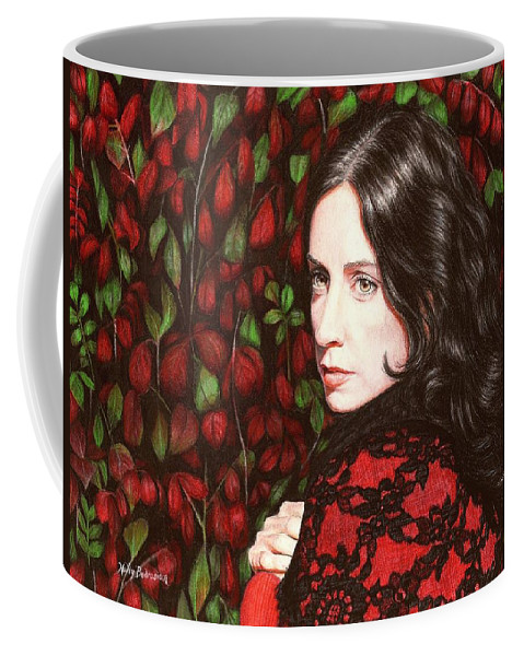 Coffee Mug featuring the drawing Autumn Lace by Holly Bedrosian