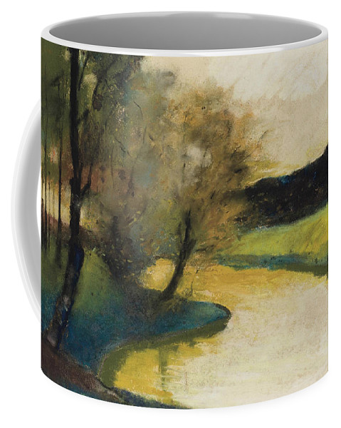 German Art Coffee Mug featuring the pastel Autumn Landscape Of Brook In The Evening Light by Lesser Ury