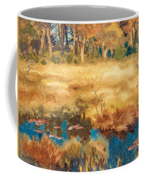 Swedish Art Coffee Mug featuring the painting Autumn Landscape With Fox by Bruno Liljefors