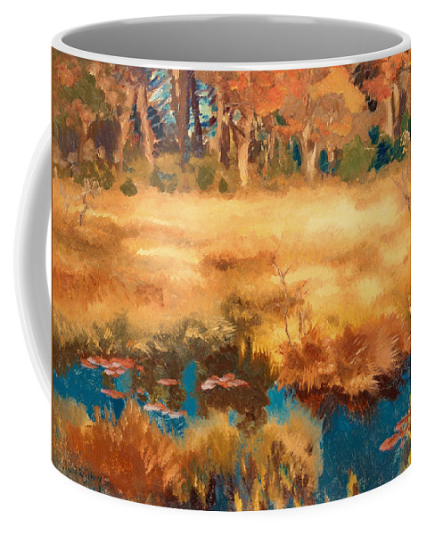 Painting Coffee Mug featuring the painting Autumn Landscape With Fox by Mountain Dreams