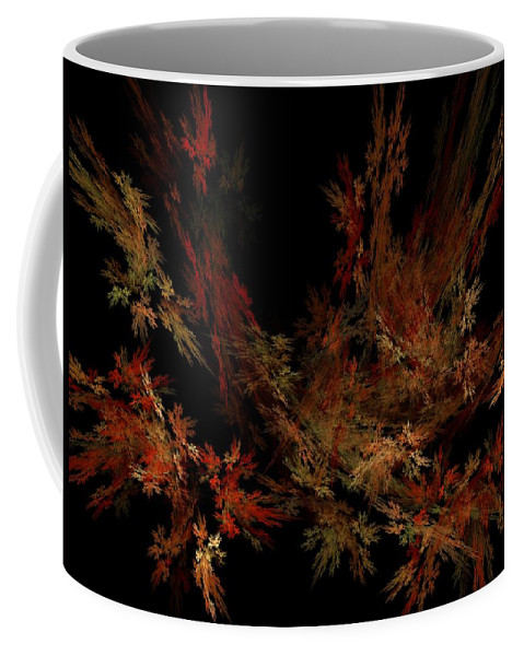 Abstract Digital Painting Coffee Mug featuring the digital art Autumn Leaf Dance by David Lane