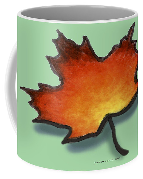 Leaf Coffee Mug featuring the greeting card Autumn Leaf by Kevin Middleton