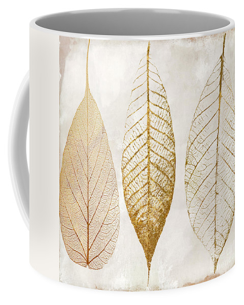 Leaf Coffee Mug featuring the painting Autumn Leaves III Fallen Gold by Mindy Sommers