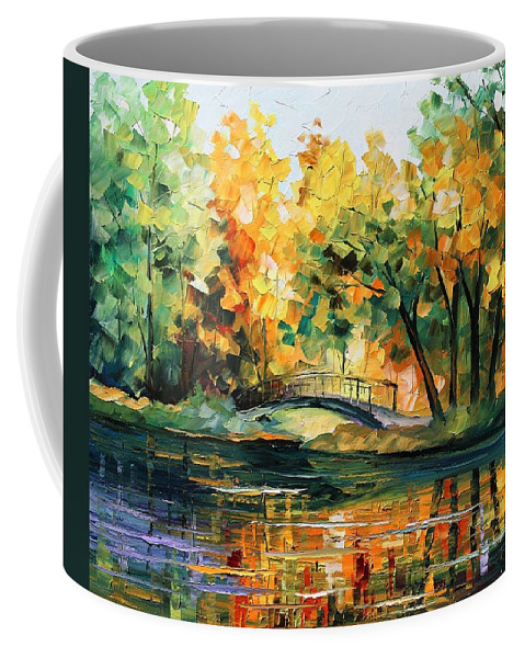 Afremov Coffee Mug featuring the painting Autumn by Leonid Afremov