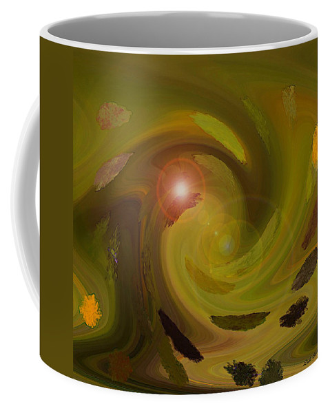 Digital Painting Abstract Coffee Mug featuring the digital art Autumn Light by Linda Sannuti
