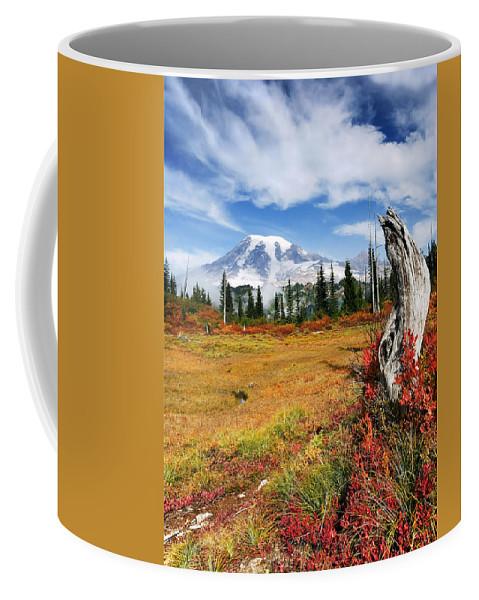 Rainier Coffee Mug featuring the photograph Autumn Majesty by Mike Dawson