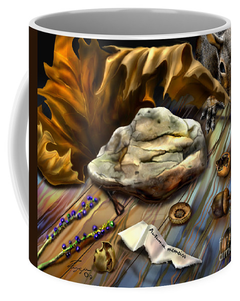 Animals Coffee Mug featuring the painting Autumn Memoirs-squirrels In The Attic by Reggie Duffie