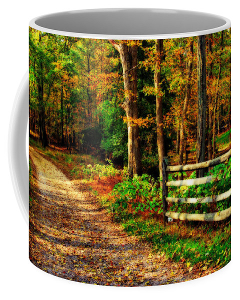 Autumn Coffee Mug featuring the photograph Autumn Moment - Allaire State Park by Angie Tirado