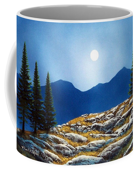 Landscape Coffee Mug featuring the painting Autumn Moon by Frank Wilson