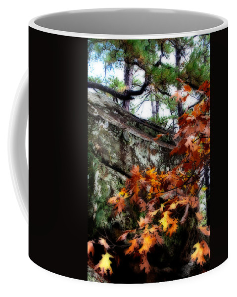 robbers Cave Coffee Mug featuring the photograph Autumn Moss by Lana Trussell