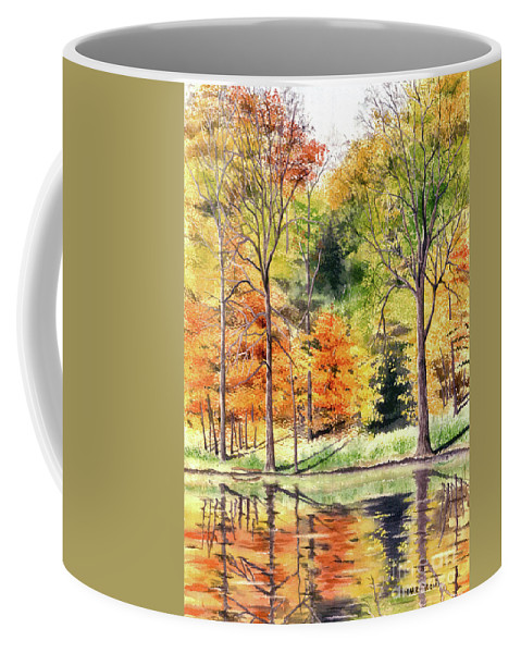 Autumn Coffee Mug featuring the painting Autumn Oranges by Mary Tuomi