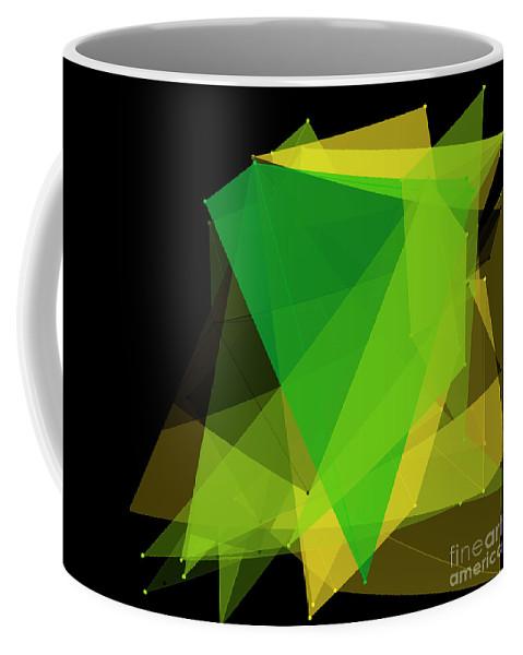 Abstract Coffee Mug featuring the digital art Autumn Polygon Pattern by Frank Ramspott