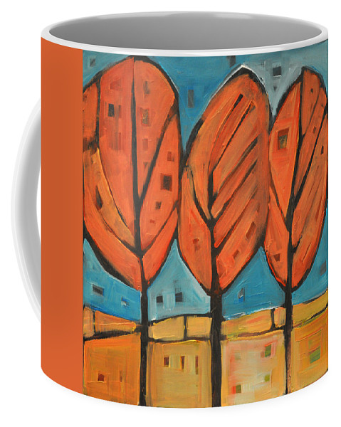 Trees Coffee Mug featuring the painting Autumn Quilt by Tim Nyberg