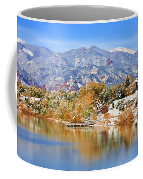 Landscape Coffee Mug featuring the photograph Autumn Snow At The Lake by Diane Alexander