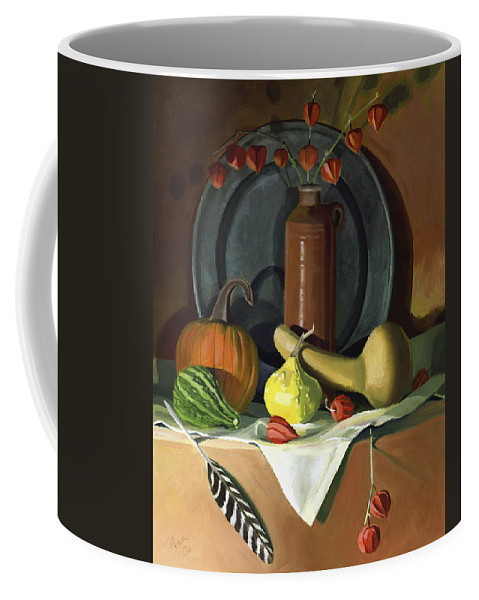 Still Life Coffee Mug featuring the painting Autumn Still Life by Nancy Griswold