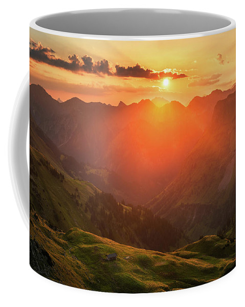 Mountains Coffee Mug featuring the photograph Autumn Sunrise by Andreas Hagspiel