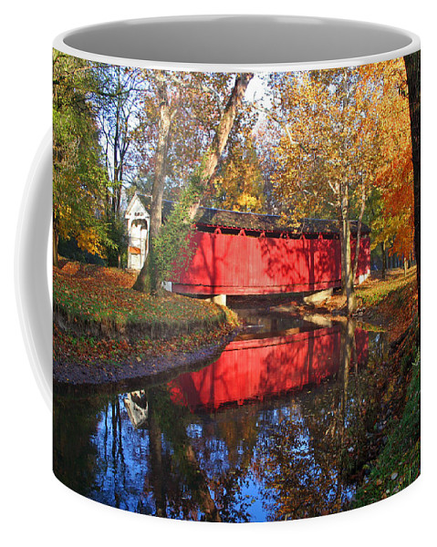 Covered Bridge Coffee Mug featuring the photograph Autumn Sunrise Bridge II by Margie Wildblood