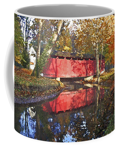 Covered Bridge Coffee Mug featuring the photograph Autumn Sunrise Bridge by Margie Wildblood