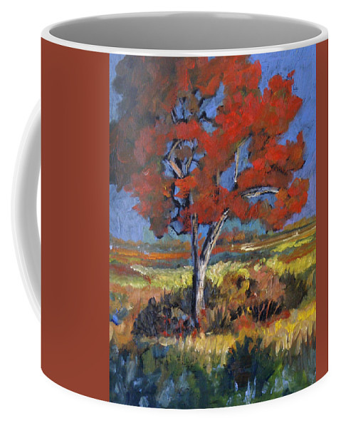Autumn Coffee Mug featuring the painting Autumn Tree by Heather Coen