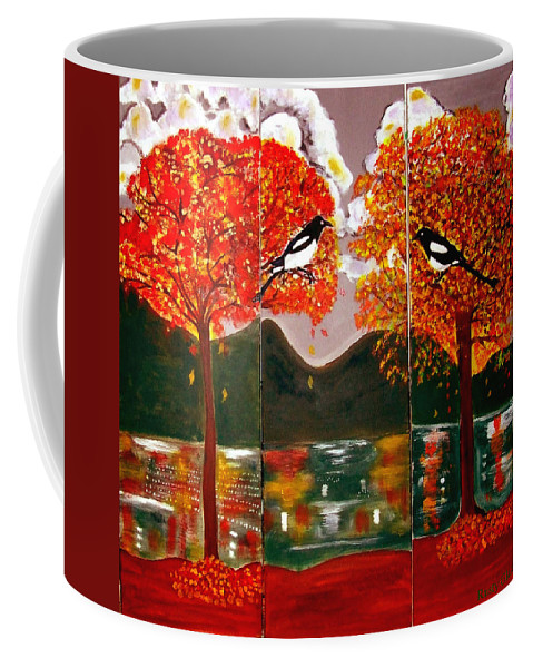 Landscape Coffee Mug featuring the painting Autumn Trilogy by Rusty Gladdish
