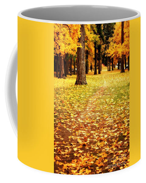 Autumn Coffee Mug featuring the photograph Autumn Walk In Spokane by Carol Groenen